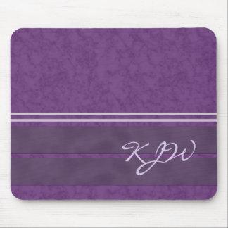 Plum Purple Lavender Stripes Monogram Mouse Pad