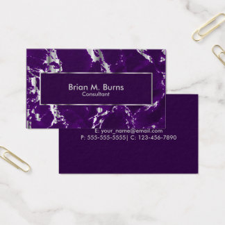 Plum Purple Marble and Metallic Silver Design Business Card