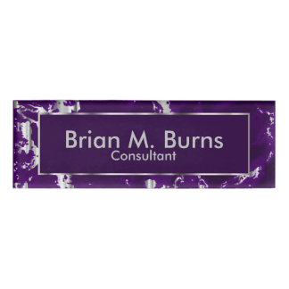 Plum Purple Marble and Silver Texture Design Name Tag