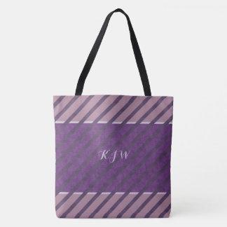 Plum Purple Mauve Lavender Monogram Tote Bag