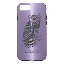 Plum Purple Metallic Background With Black Owl iPhone 7 Case