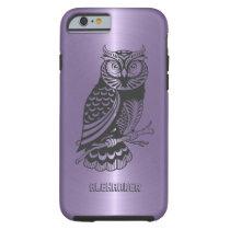 Plum Purple Metallic Background With Black Owl Tough iPhone 6 Case