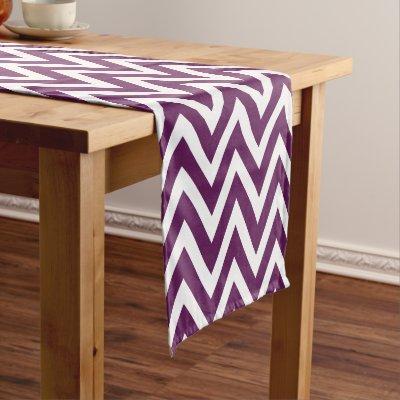 Plum Table | Purple Silver Splatter Brushstroke Medium Table Runner |  Zazzle.com