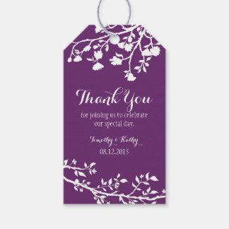 Plum Purple Modern Flower Wedding Thank You Tags