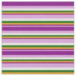 [ Thumbnail: Plum, Purple, Orange, Dark Green & White Stripes Fabric ]
