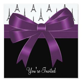 Plum Purple Paris Eiffel Tower Party 5.25x5.25 Square Paper Invitation Card