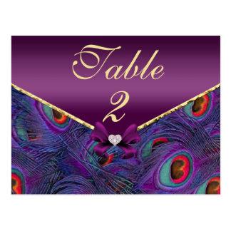 Plum Purple Peacock Table Number Card Postcard