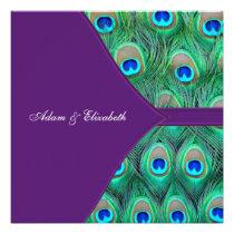Plum Purple Peacock Wedding Announcement