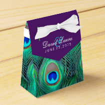 Plum Purple Peacock Wedding Favor Box