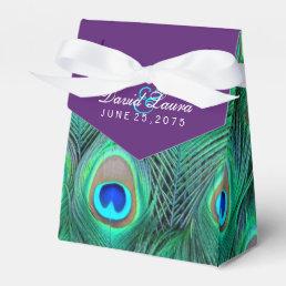 Plum Purple Peacock Wedding Favor Box