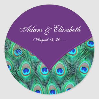 Plum Purple Peacock Wedding Favor Label