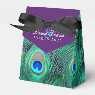 Plum Purple Peacock Wedding Party Favor Boxes