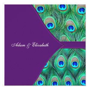 Plum Purple Peacock Wedding 5.25x5.25 Square Paper Invitation Card
