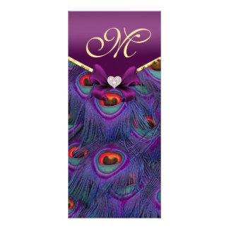 Plum Purple Peacock Wedding Program Rack Card