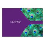 Plum Purple Peacock Wedding RSVP Card