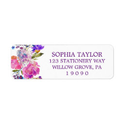 Plum Purple Pink and Blue Flowers Baby Shower Label