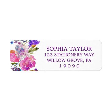 Toddler & Baby themed Plum Purple Pink and Blue Flowers Baby Shower Label