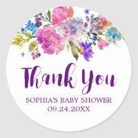 Plum Purple Pink and Blue Flowers Thank You Favor Classic Round Sticker