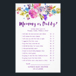 """Plum Purple Pink &amp; Blue Flower Mommy or Daddy Game Flyer<br><div class=""""desc"""">This plum purple pink &amp; blue flower &quot;mommy or daddy&quot; game is perfect for a floral baby shower. The front of the game card features &quot;mommy or daddy?&quot;, and the back of the card features &quot;baby word scramble&quot;. The design features bright watercolor flowers in magenta pink, plum purple and cornflower...</div>"""