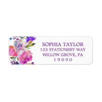 Plum Purple Pink & Blue Flowers Baby Shower Label
