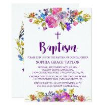 Plum Purple Pink & Blue Flowers Baptism Invitation