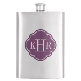 Plum Purple Quatrefoil Custom Monogram Flask