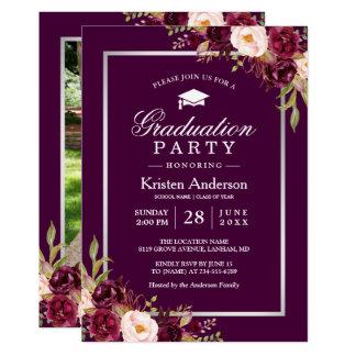 Plum Purple Red Floral Photo Graduation Party Card