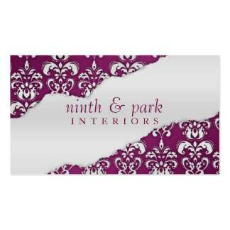Plum Purple Ripped Damask Interior Design Business Card