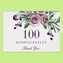 Plum Purple Rose Floral 100th Birthday Thank You Card