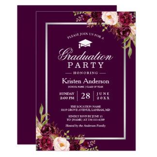 Plum Purple Rustic Floral 2018 Graduation Party Card