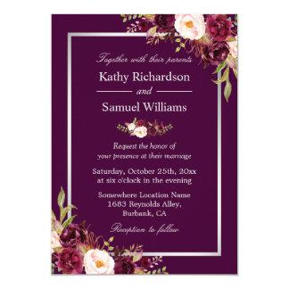 Plum Purple Rustic Floral Silver Gray Fall Wedding Card