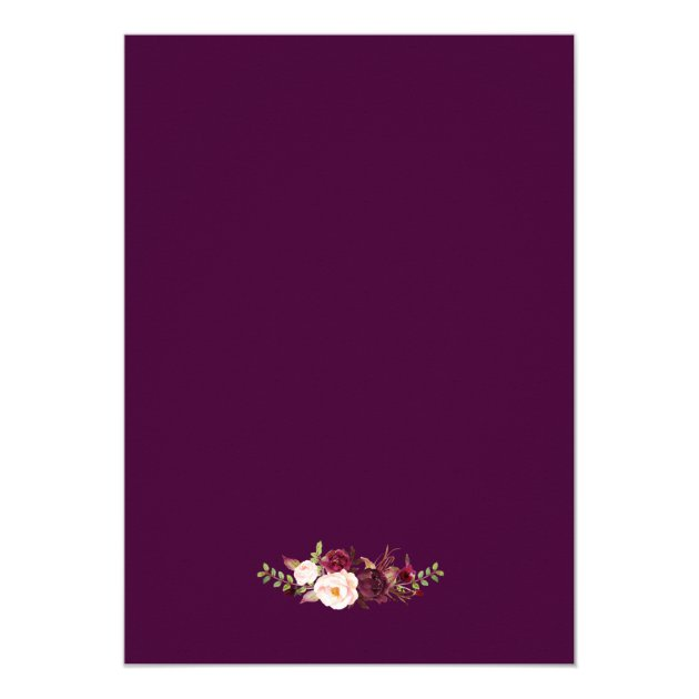 Plum Purple Rustic Floral Silver Gray Fall Wedding Card (back side)