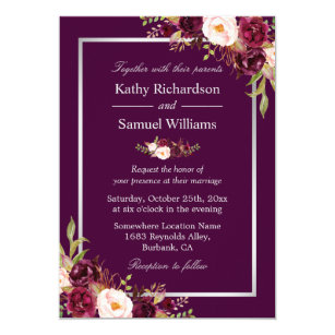 Purple And Silver Wedding Invitations | Zazzle