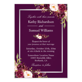 Plum Purple Rustic Floral Silver Gray Fall Wedding Invitation