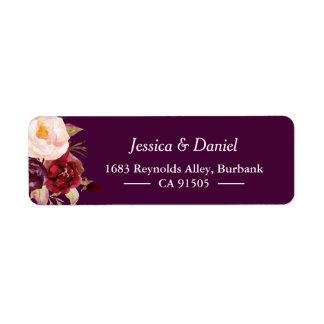 Plum Purple Rustic Floral Simple Classy Label