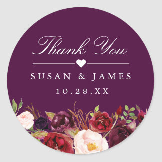 Plum Purple Rustic Floral Thank You Wedding Favor Classic Round Sticker