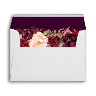 Plum Purple Rustic Floral with your Return Address Envelope