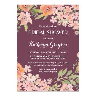 Plum Purple Rustic Flower Bridal Shower Invitation