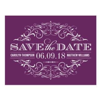 Plum Purple Save the Date Swirl and Flourish Postcard