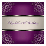 Plum Purple Silver Floral 25th Birthday Party Invitations