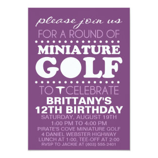 Plum Purple Tee Time Miniature Golf Birthday Party Card
