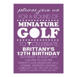 Plum Purple Tee Time Miniature Golf Birthday Party Personalized Invitations