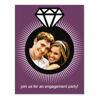 Plum Purple The Ring Photo Engagement Party 4.25x5.5 Paper Invitation Card