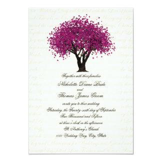 Plum Purple Tree Dancing Blooms Wedding 5x7 Paper Invitation Card