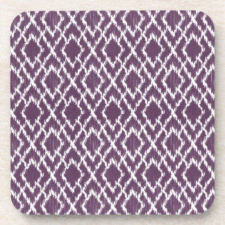 Plum Purple Tribal Print Ikat Geo Diamond Pattern Beverage Coaster