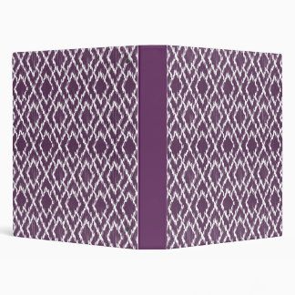 Plum Purple Tribal Print Ikat Geo Diamond Pattern Vinyl Binder
