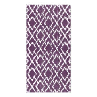 Plum Purple Tribal Print Ikat Geo Diamond Pattern Card