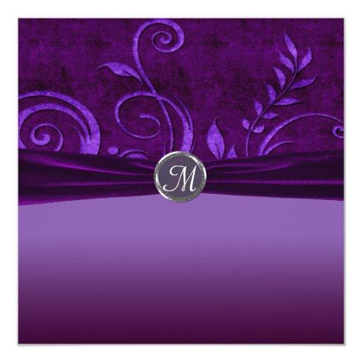Plum & Purple Velvet Wedding Swirl Announcement