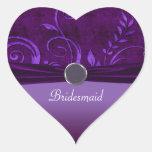 Plum & Purple Velvet Wedding Swirl Heart Sticker