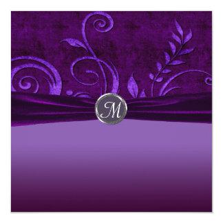Plum & Purple Velvet Wedding Swirl 5.25x5.25 Square Paper Invitation Card
